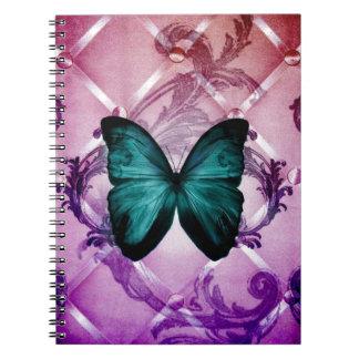 Flourish Purple Swirls Bohemian Teal Butterfly Notebook