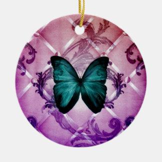 Flourish Purple Swirls Bohemian Teal Butterfly Round Ceramic Decoration