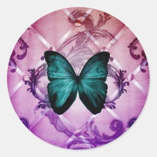 Flourish Purple Swirls Bohemian Teal Butterfly Round Sticker