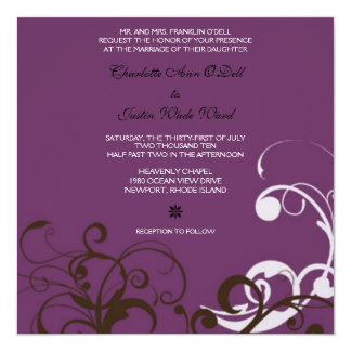 flourish; purple wedding card