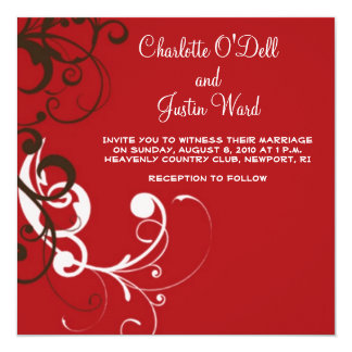 flourish; red wedding 13 cm x 13 cm square invitation card