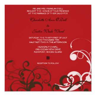 flourish; red wedding card