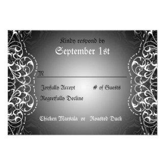 Flourish RSVP Bride Groom Reception Cards Custom Invites