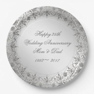 Flourish Silver 25th Anniversary Paper Plate