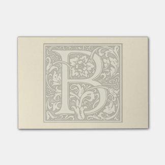 flourish silver monogram - B Post-it Notes