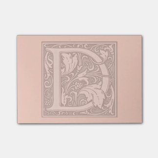 flourish silver monogram - D Post-it Notes