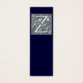 flourish silver monogram - Z Mini Business Card