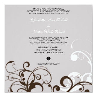 flourish; silver wedding 13 cm x 13 cm square invitation card