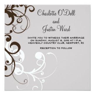 flourish; silver wedding card