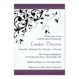 "Flourish Swirl Eggplant Bridal Shower Invitations 5"" X 7"" Invitation Card"