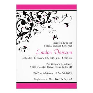 Flourish Swirl Hot Pink Bridal Shower Invitations