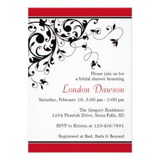Flourish Swirl Red Bridal Shower Invitations
