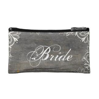 flourish swirls lace wood country bride makeup bag