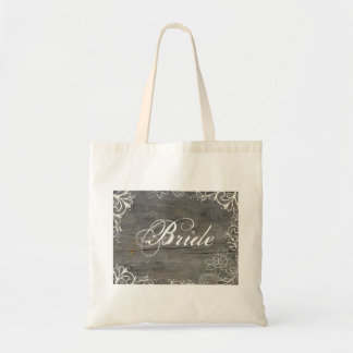 flourish swirls lace wood country bride budget tote bag