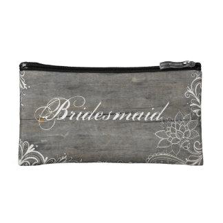 flourish swirls lace wood country bridesmaid cosmetics bags