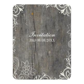 flourish swirls lace wood country wedding card