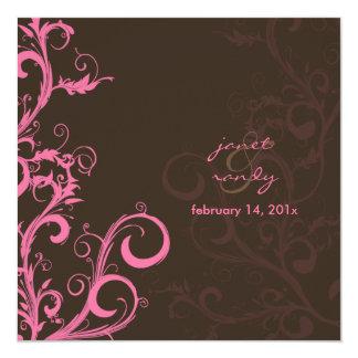 Flourish/swirls leaves/pink/chocolate/ card