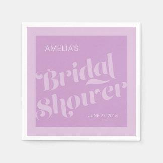 Flourish Typography Lavender Lilac Bridal Shower Disposable Serviettes