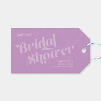 Flourish Typography Lavender Lilac Bridal Shower Gift Tags