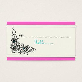 Flourish vine pink turquoise wedding place card