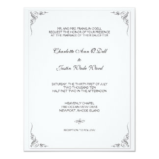flourish white; wedding 11 cm x 14 cm invitation card