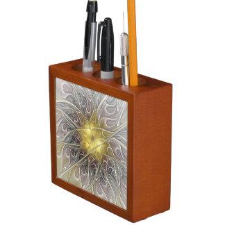Flourish With Gold Modern Abstract Fractal Flower Desk Organiser