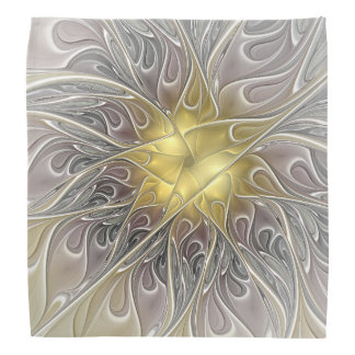 Flourish With Gold Modern Abstract Fractal Flower Head Kerchief