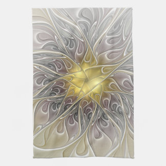 Flourish With Gold Modern Abstract Fractal Flower Tea Towel