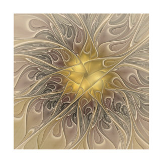 Flourish With Gold Modern Abstract Fractal Flower Wood Wall Decor