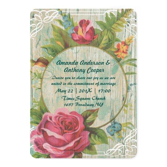 Flourish wreath monogram card