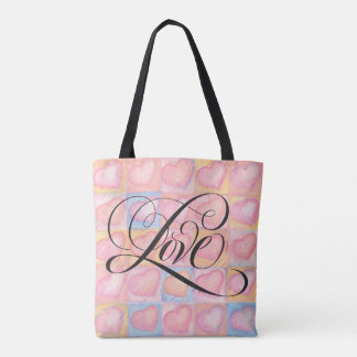 Flourished Love Calligraphy Script Pink Hearts Tote Bag