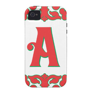 Flourished Red Framed Monogram A Case-Mate iPhone 4 Cover