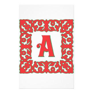 Flourished Red Framed Monogram A Customized Stationery