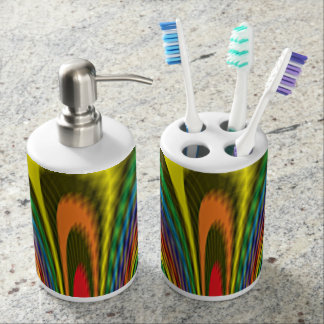Flourishing Rainbow Soap Dispenser And Toothbrush Holder
