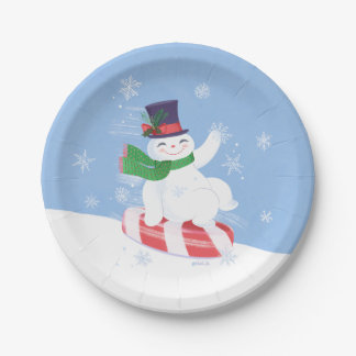 Flowby the Snowman 7 Inch Paper Plate