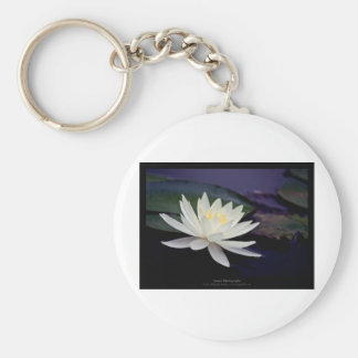 Flower 039 White Water Lily Basic Round Button Key Ring
