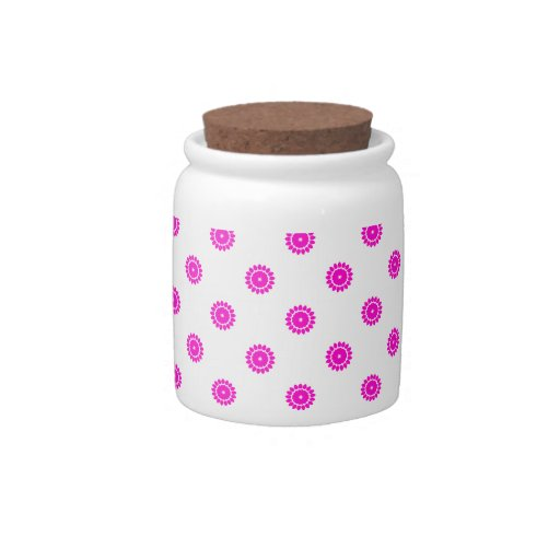 Flower 4 Pattern Pink Candy Jars