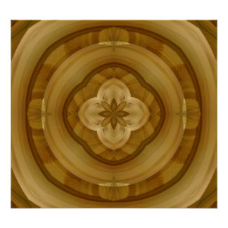 flower abstract circle wood pattern poster