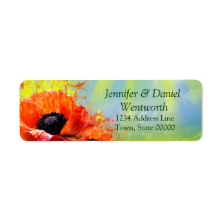 Flower Address Labels Orange Poppy