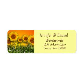 Flower Address Labels Sunflowers