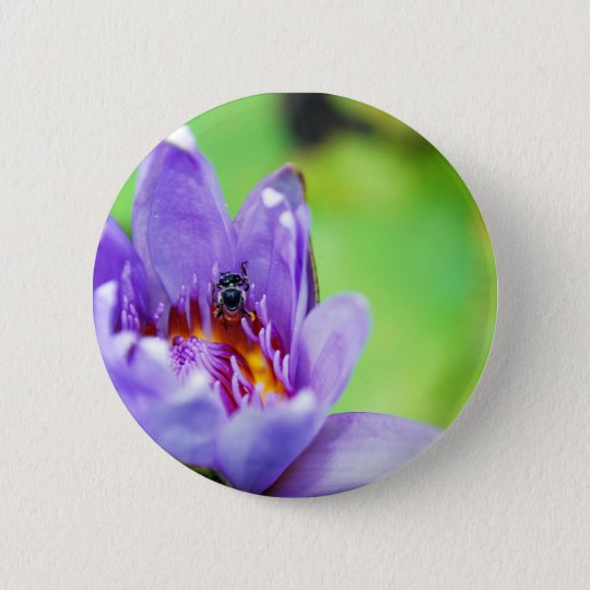 Flower and Bee 6 Cm Round Badge