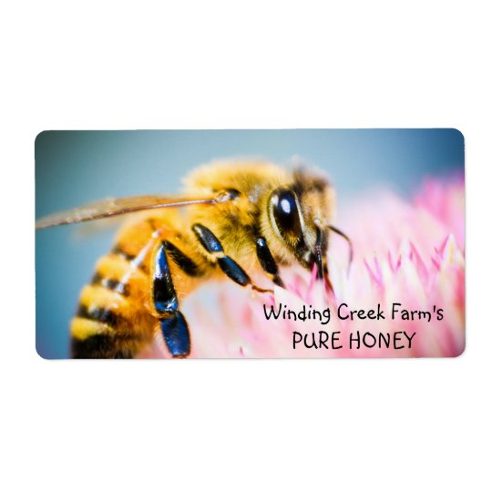 Flower and Bee Personalised Honey Label Shipping Label