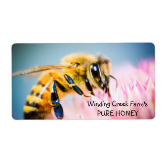 Flower and Bee Personalized Honey Label Shipping Label