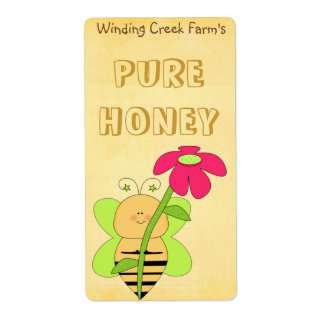 Flower and Bee Pure Honey Label Shipping Label