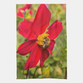 Flower and bee tea towel
