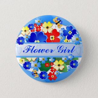 Flower and Butterflies ~ Flower Girl Button