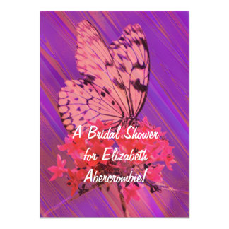 Flower and Butterfly Bridal Shower 11 Cm X 16 Cm Invitation Card