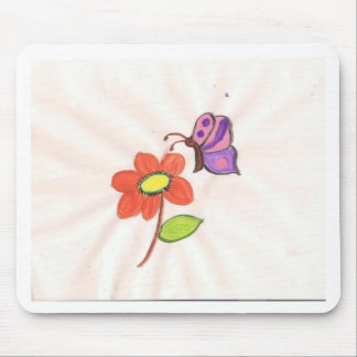 Flower and Butterfly Mouse Mat