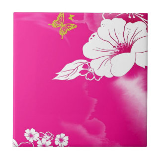 Flower and Butterfly Small Square Tile