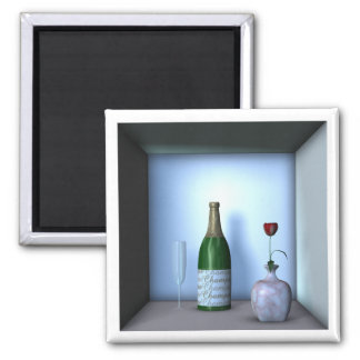 Flower and Champagne Square Magnet
